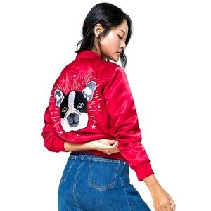NWT GAP Red Satin Dog Embroidered Bomber Jacket